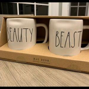 Rae Dunn Beauty/Beast White Mugs
